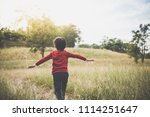 back of  asian child playing... | Shutterstock . vector #1114251647