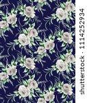 flower pattern navy background | Shutterstock . vector #1114252934