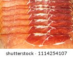 thinly sliced german black... | Shutterstock . vector #1114254107