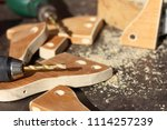 electric drill for drilling... | Shutterstock . vector #1114257239
