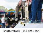 group of teenager skater boys... | Shutterstock . vector #1114258454