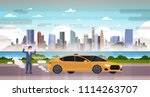 angry man in mask car emissions ... | Shutterstock .eps vector #1114263707