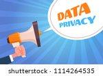 human hands megaphone bubble... | Shutterstock .eps vector #1114264535