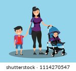 young mother with a baby in a... | Shutterstock .eps vector #1114270547