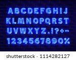 font neon lamp symbol  blue... | Shutterstock .eps vector #1114282127