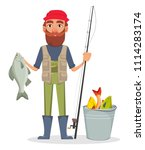 Fisher cartoon character. Fishermen holding fishing rod with caught fish and standing near bucket. Vector illustration on white background