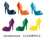 woman shoes isolated | Shutterstock .eps vector #1114289411