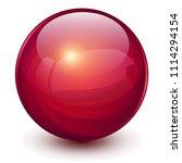 red sphere  3d vector ball. | Shutterstock .eps vector #1114294154