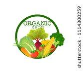 green organic shop fresh logo... | Shutterstock .eps vector #1114300259