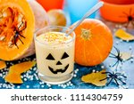 pumpkin cream mousse in glass... | Shutterstock . vector #1114304759