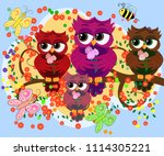 a family of colorful  bright ... | Shutterstock . vector #1114305221