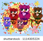a family of colorful  bright ... | Shutterstock . vector #1114305224