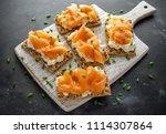 homemade crispbread toast with... | Shutterstock . vector #1114307864