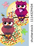 background with a cute owls... | Shutterstock . vector #1114329434