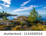 Wild nature. Rocky island. Northern nature. Karelia. Ladoga lake. Summer day in Karelia. Russia. Nature of Karelia.