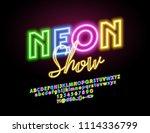 vector glowing sign neon show.... | Shutterstock .eps vector #1114336799