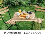 morning breakfast in green...   Shutterstock . vector #1114347707