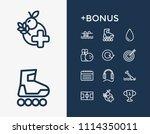 healthy icon set and earphone...