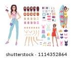 fashion blogger girl vector...   Shutterstock .eps vector #1114352864