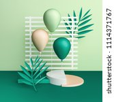 3d render balloons on striped... | Shutterstock . vector #1114371767