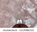 shoes selfie from above. feet... | Shutterstock . vector #1114386131