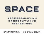 geometric font 3d effect design ... | Shutterstock .eps vector #1114391024