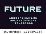 geometric font 3d effect design ... | Shutterstock .eps vector #1114391354