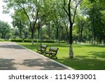 the road and the benches are in ... | Shutterstock . vector #1114393001