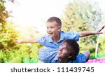happy father and son are... | Shutterstock . vector #111439745