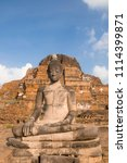 ancient sitting buddha... | Shutterstock . vector #1114399871