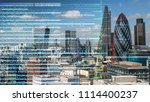london city skyline with data... | Shutterstock . vector #1114400237