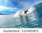 surfer riding on big waves on... | Shutterstock . vector #1114402871