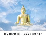 large gold buddha image in the... | Shutterstock . vector #1114405457