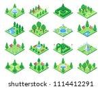 isometric green park or garden... | Shutterstock .eps vector #1114412291