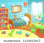 cartoon kids bedroom interior.... | Shutterstock .eps vector #1114412417