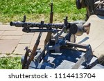 the machine gun is fixed on the ...   Shutterstock . vector #1114413704