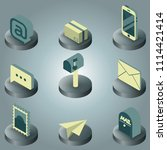 mail color isometric icons | Shutterstock .eps vector #1114421414