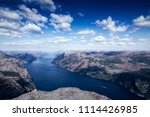 the norwegian lysefjord  a... | Shutterstock . vector #1114426985