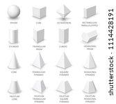 set of basic 3d shapes. white...   Shutterstock .eps vector #1114428191