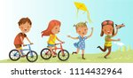 children playing outdoors... | Shutterstock .eps vector #1114432964