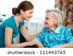 senior woman with her caregiver ... | Shutterstock . vector #111443765