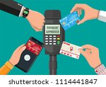 hands with transport card ... | Shutterstock .eps vector #1114441847