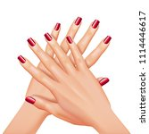 hands with red nails manicure...   Shutterstock .eps vector #1114446617