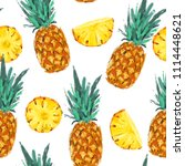 seamless summer pineapple... | Shutterstock . vector #1114448621