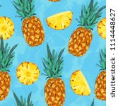 seamless summer pineapple... | Shutterstock . vector #1114448627