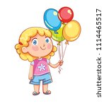 little cute girl holding... | Shutterstock .eps vector #1114465517