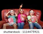 little kids watching movies... | Shutterstock . vector #1114475921