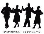 silhouettes of folk dancers...   Shutterstock . vector #1114482749