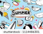 summer doodle symbol and... | Shutterstock .eps vector #1114486301