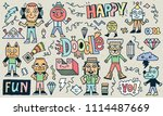 abstract fantastic happy doodle ... | Shutterstock .eps vector #1114487669